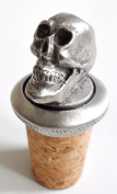 Grinning Skull Cross Cork & Pewter Wine Spirits Bottle Stopper Stop