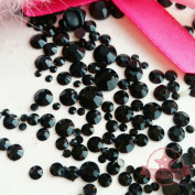 1000 pcs 2mm -10mm Jet Black resin faux round Pearls Flatback Mix Size Cabochon *ship with FREE GIFT from GreatDeal68*