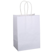 "BagDream Small Kraft Paper Bags 50Pcs 13cm x 8.3cm x 8"", Party Bags, Shopping Bag, Kraft Bags, White Bags with Handles"