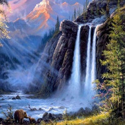 Adarl DIY Oil Painting Paint By Number Kit Image Drawing On Canvas By Hand Colouring Arts Crafts & Sewing NEW Waterfall