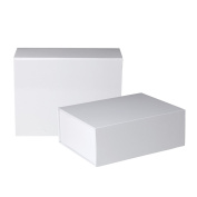 Jillson Roberts 2-Count Large Magnetic Closure Presentation Gift Boxes, White Gloss