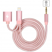 DISDIM iPhone 7 Aux Lightning to 3.5mm Auxiliary Audio Cable with 8Pin Extension Charger Cord Adapter for iPhone 7 / iPhone 7 Plus iOS 10.3 to Home / Car Stereos -Rose Gold