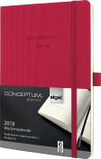 Sigel C1834 Weekly Diary 2018, approx. A5 (21cm x 13cm ), softcover, red, CONCEPTUM – with numerous features