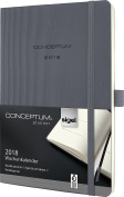 Sigel C1836 Weekly Diary 2018, approx. A5 (21cm x 13cm ), softcover, dark grey, CONCEPTUM – with numerous features