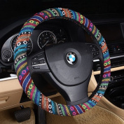Follicomfy Flax Cloth Automotive Steering Wheel Cover,Anti Slip Sweat Absorption,Ethnic Style