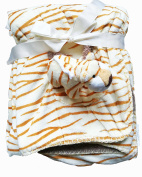 Adorable Beige Baby 2 Ply Borrego Blanket with Orange/Brown Stripes, 3D-Tiger in a Pocket