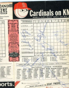 1968 CARDINALS SCORECARD JSA SIGNED BY 10 FLOOD BROCK ETC AUTHENTIC AUTOGRAPH