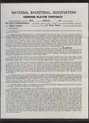 Original 1964 NBA Basketball New York Knickerbocker Signed Contract James Barnes