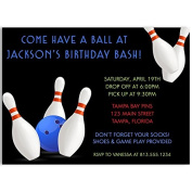 Bowling, Birthday Party, Invitations, Boys, Blue, White, Black, Ball, Pins, Bowl, Strike, 10 Printed Cards with Envelopes,
