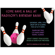 Bowling, Birthday Party, Invitations, Girls, Pink, White, Black, Ball, Pins, Bowl, Strike, 10 Printed Cards with Envelopes,