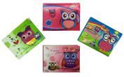 Party Bag Pack of 4 Cute Owl Colourful Notepad with Flap Seal