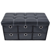Achim Home Furnishings Collapsible 6 Drawer Storage Ottoman, Black Faux Leather, 80cm x 38cm x 38cm