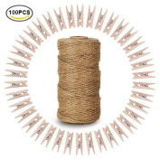 100 Pcs Natural Wooden Clothespins with Spring Photo Paper Peg Wooden Mini Clips Craft Pegs with 90m Natural Jute Twine for Arts & Crafts DIY Decorations