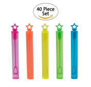 40-Piece Star Bubble Wands Assortment Neon Party Favours - Summer Gifts Bubbles Fun Toys