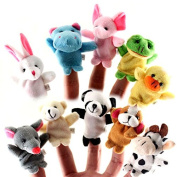 Soft Plush Animal Finger Puppet Set (10 Piece) by Electronix Express