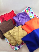 10cm Textured Bean Bags - 12 Pack includes two of six different textures and drawstring storage bag, direct from USA manufacturer Bear Paw Creek