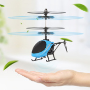 Qiyun Children intelligent Toy Infrared Induction Helicopter Mini Flying Toys for Boys and Girls Blue