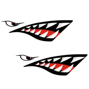 MonkeyJack 2 Pieces Shark Mouth Decals Sticker Fishing Boat Canoe Kayak Graphics Accessories - Waterproof and Durable