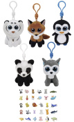 Stuffed Animals Beanie Boos Clips Keychain Plush Toys Bundle White Tiger, Fox, Penguin, Panda and Husky with One Bonus Animal Puzzle Eraser
