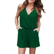 Bluester Women Solid Chiffon Beach Sleeveless Jumpsuit, Summer Party Short Mini Playsuit Dress
