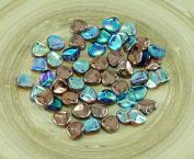 50pcs Crystal Rainbow Copper Czech Glass PRECIOSA Rose Petal Pressed Flower Flat Beads 8mm x 7mm