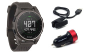 Bushnell Excel (Charcoal) 2017 Golf GPS Watch Bundle with PlayBetter USB Car Charge Adapter | 35,000+ Worldwide Courses