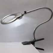 Zorvo Clip Lighted Table Top Desk Magnifier Lamp LED Light Magnifying Glass With Clamp