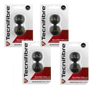 Tecnifibre Double Yellow Dot Squash Balls - 8 Pack