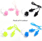 Odowalker Waterproof Silica Gel Silicone Swimming Earplugs and Nose Clips Clamp Cover,Pack of 4