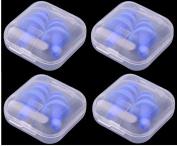Earplugs 4 Pairs + 4 Boxes Blue Silicone Ear Plugs Anti Noise Hearing Protection Swim Sleep Noise