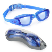 Swim Goggles, Clear Swimming Goggles No Leaking Anti Fog UV Protection Triathlon Swim Goggles with Free Protection Case for Adult Men Women Youth Kids Child, Blue