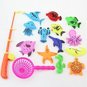 Bath Toy Fishing Game with Floating Fish and Fishing Rod & Fishing Net