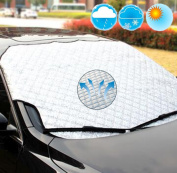 K-Bright 100x147 cm Large Silver Car Windscreen Windshield Sun Shade,Foldable Car Front Window Heat Reflective Visor/Ice,snow protector for Summer and Winter