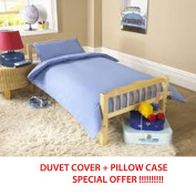 COT BED DUVET COVER WITH PILLOWCASE- SUPERIOR NATURAL COTTON RICH 120 X 150 CM - LIGHT BLUE