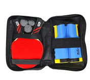 Table Tennis Combo Pingpong Set 2 Offensive Bats 3 Balls Retractable Net Carry Bag Ready to Go