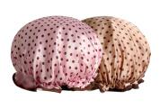 Moolecole 2pcs Women's Polka Dots Waterproof Double Layer Shower Cap Elastic Band Bathing Cap Spa Shower Hat