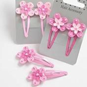 Childrens Pink Flower Hair Clips