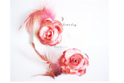 Set of 2 Decorative Salmon Pink Feather Flower Hair Clip – Glitter finish