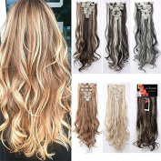 8Pcs 18 Clips 24-70cm Curly Straight Full Head Clip in on Hair Extensions Highlight Women Lady Hairpiece