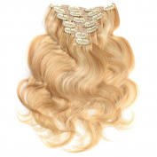 50cm Hair Extensions Clip on Remy Human Hair Full Head Set Wavy Clip ins7 pieces # P 27/613 120 g 120ml