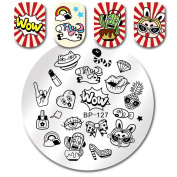 Born Pretty Round Stamping Plate Wow Makeup Jewellery 5.5cm Manicure Nail Art Image Plate BP-127