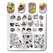 Born Pretty Square Nail Art Stamp Template Cake Afternoon Tea Design Image Plate BP-X23