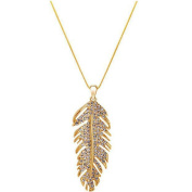 LUFA Long Retro Feather Pendant Necklace Womens Elegant Accessories Gold Silver Colour