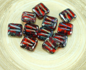 12pcs Picasso Orange Hyacinth Window Table Cut Carved Flat Square Czech Glass Beads 10mm x 10mm