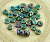 20pcs Metallic Green Iris Waved Flat Round Disk One Hole Czech Glass Beads Disc 8mm