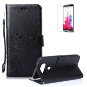 LG V20 Case.Funyye Elegant Premium Folio PU Leather Wallet Magnetic Flip Cover with [Wrist Strap] and [Credit Card Holder Slots] Stand Function Book Type Stylish Butterfly Leaf Vines Designs Full Protection Holster Case Cover Skin Shell for LG V20-Black