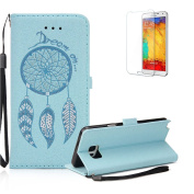 For Samsung Galaxy Note 5 Case Cover [with Free Screen Protector], Funyye Practical Fashionable New 3D Patterns [Blue PU Wallet]+ [Blue Dream Catcher Pattern] Design Flip Magnetic with [Wrist Strap] and [Card Holder Slot] Shock Absorber Full Body Prote ..
