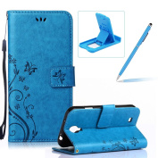 Wallet Leather Case for Samsung Galaxy S4 Mini i9190,Book Style Pu Leather Case for Samsung Galaxy S4 Mini i9190,Herzzer Retro Blue Butterfly Flower Pattern Flip Fold Pouch Case with Credit Card ID Cash Holders Stand Function Magnetic Closure Case Cove ..