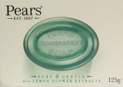 SIX PACKS of Pears Green Transparent Soap with Lemon Flower Extracts 125g