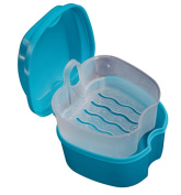 Webla Denture Bath Box Case Dental False Teeth Storage Box with Hanging Net Container
